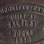 Placa de constructor ferroviario. Metropolitan Cammel de Birmingham. Vagón de carga construido en los talleres de Saltley. Fecha de construcción 1930 / Railway builder's plate. Birmingham Metropolitan Cammel. Freight car built at the Saltley Workshops. Construction date 1930