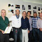 El jurado Daniel Barraco, Ernesto Segura y Marcelo Nardechia, con Francisco Guerrero y las autoridades Diego Gareca y Humberto Mingorance