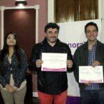 Los ganadores Sergio Morón , Guillermo Silvestri y Claudia Cuadros